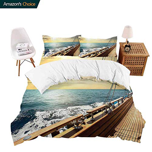 shirlyhome Extra Soft Luxury Hotel Sheets Mediterranean Wav at Sunset Relax Yacht W d Relax Scenery Teal Light Long Durable X-Long Twin