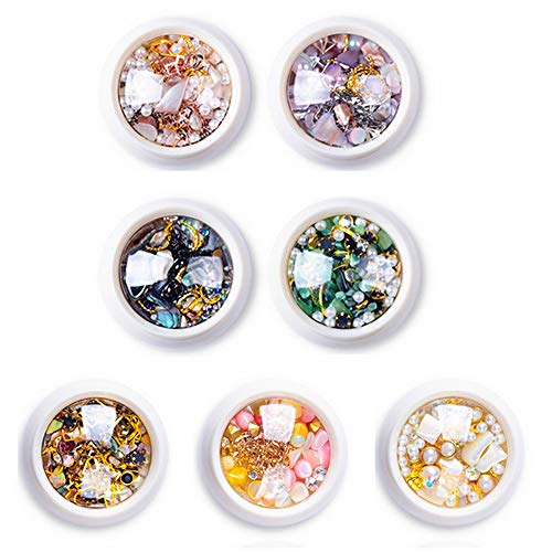 7 Boxes 3D Nail Art Rhinestones Decoration Set Nail Drill Manicure Jewelry DIY Bright Crystal Sand Shell Metal Jewelry Bead Nail Art Accessories Jewels Decoration