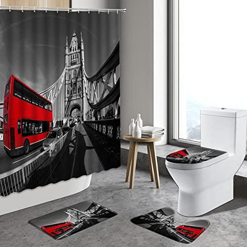 Juego de Cortina de Ducha Retro con Alfombra de baño, Cabina de teléfono roja de Calle, autobús, decoración del hogar, Cubierta de baño-2_180x200cm