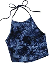 Romwe Women's Casual Tie Dye Sleeveless Vest Halter Cami Tank Top Navy M