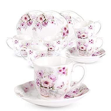 Espresso Coffee Cups and Saucers Set -2.8 OZ 6 PCS New Bone China Floral Tea Cup Sets with Flower Painting Pattern for Tea Milk Latte Cappuccino