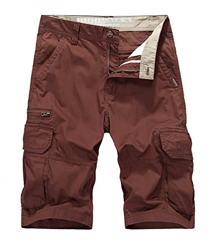 Vcansion Men's Cotton Summer Multi Pocket Camouflage Pants Outdoor Casual Cargo Shorts Claret US 34/Asia 36