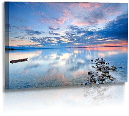 Premium - Acrylglas - Landschaftsbilder - Naturbilder - Sonnenuntergang - Chiemsee - Bild - Strand - Wolken - Wasser Landschaft - Bilder - Wandbilder XXL - Bild - Acrylglasbild - Glasbild (140 cm x 80 cm)