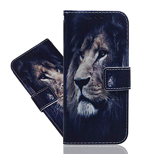 IMEIKONST Flip Funda para Sony Xperia L3, Cool Painted PU Cuero Case Shell Magnetic Antigolpes Card Holder Wallet Designed Protective Stand Funda para Sony Xperia L3 Lion TXZH