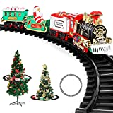 AOKESI Toy Train Set with Lights and Sounds - Christmas Train Set Around Tree - Electric Railway Train Set with Locomotive Engine, Cars and Tracks, Battery Operated Xmas Train Gift for Kids Boys Girls