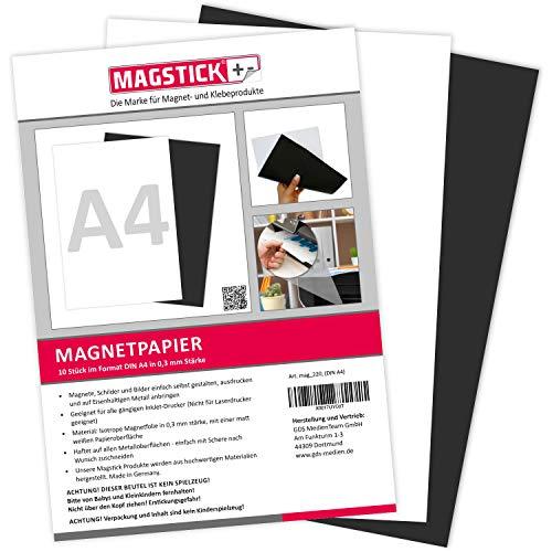10er Set Magnetpapier I weiß I DIN A4 I DIY I magnetische Rückseite I mit gängigem Inkjet Drucker bedruckbar I zum Beschriften, bedrucken oder als magnetisches Foto-Papier I mag_220