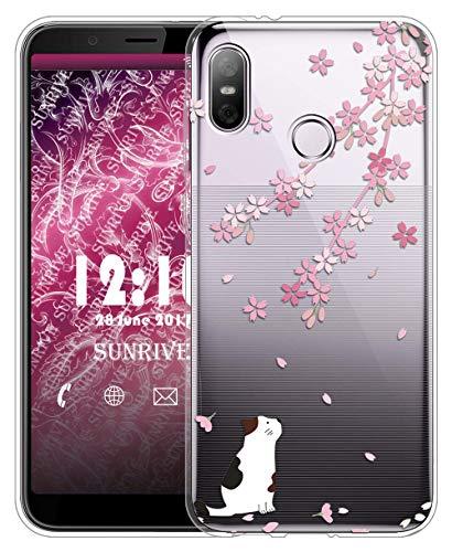 Sunrive Für HTC U12 Life Hülle Silikon, Transparent Handyhülle Schutzhülle Etui Hülle für HTC U12 Life(TPU Blume rosa 2)+Gratis Universal Eingabestift MEHRWEG