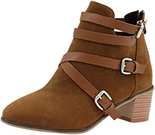 JJHAEVDY Women's Suede Cross Buckle Strap Ankle Boots Fashion Pointed Toe Block Heel Short Booties Dress Boots with Zip