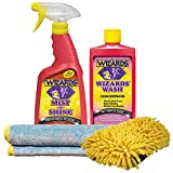 Wizards - Wash and Detail Kit- Mist N Shine (22oz), Wash Concentrate (16oz), Microfiber Chenille Washing Mitt, and Microfiber Detailing Cloth (16x23)