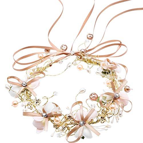 Hochzeit Stirnband Blume Haarkränze Silber Krone Braut Haar Girlande Haarschmuck mit Band für Braut und Brautjungfern Gefälligkeiten (Style A)