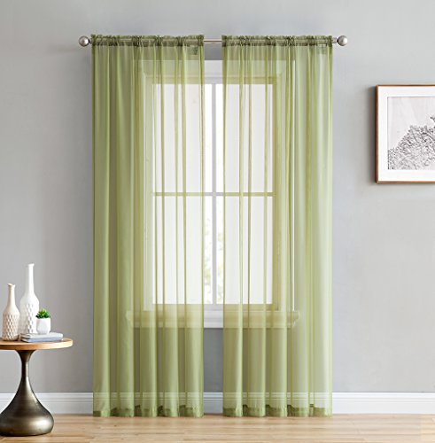 HLCME Sage Green 2 Pack 55 inch by 84 inch Window Curtain Sheer Panels