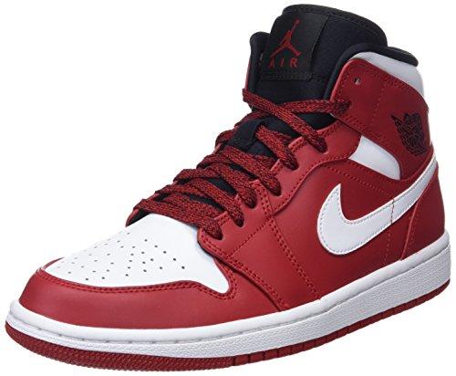Nike Herren Air Jordan 1 Mid Basketballschuhe, Schwarz (Gym Red/White/Black 605), 42.5 EU