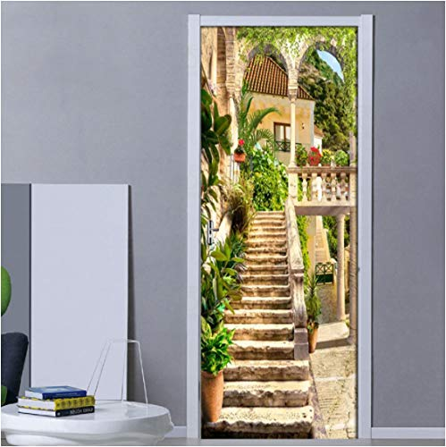 ZPCR Mural DIY calcomanías Creativas PVC Escalera Edificio Puerta Pegatina impresión autoadhesiva para renovar Imagen artística decoración del hogar habitación de niñas