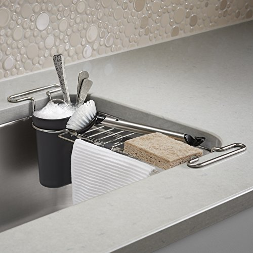 KOHLER Multi-Purpose Over-the-Sink Drying Rack, Caddy with Kitchen Towel Bar Holder, Soaking Cup. Expandable 14.6