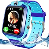 Kids Waterproof Smart Watch Phone Boys Girls with GPS Tracker Two Way Call SOS Flashlight Voice Chat 1.44'' HD Touch Screen Camera Alarm Clock Puzzle Game Cellphone Digital Wrist Watch Birthday (blue)