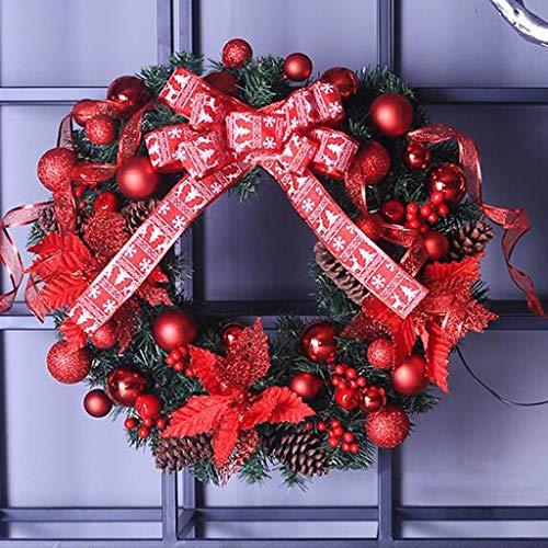guirnalda NLIAN- Corona de Navidad Decorada Preiluminada, con Decoración de Lazo/Conos de Pino Natural/Bayas/Decoraciones Esféricas/Cintas de Colores for Bodas Escenarios Restaurantes