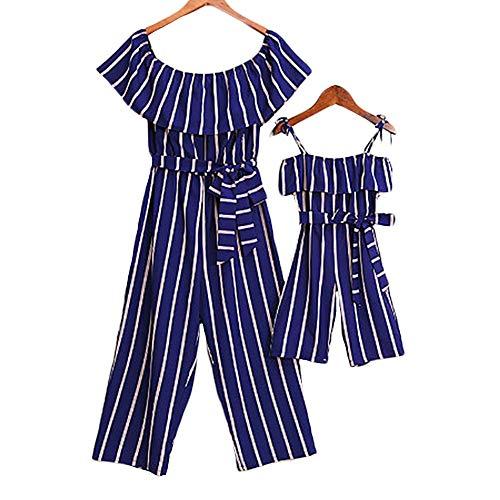 CYICis Mutter und Tochter Kleidung Sommerkleider Blauer Vertikaler Gestreift Bow Schulterfre Shirtkleider Partnerlook Mama Kind Kleid (Mutter-M, Blau)