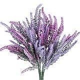 Eight Space 4 paquetes de flores artificiales de lavanda hermosa arreglo de flores falsas, plantas para el hogar, jardín, fiesta, mesa de comedor y decoración de boda (fucsia+morado)