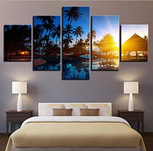 DHSCA Decoration 5 Pieces Canvas Wall Art Palm Tree Gazebo Sunset Seascape 150X100Cm Non-Woven Canvas Prints Image Framed Artwork Painting Picture Photo Home Decoration 5 Pieces Home Office Decoration