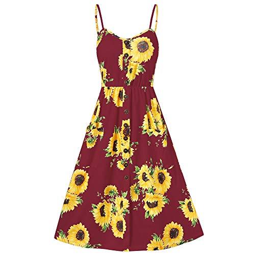 Zonnebloem Print Spaghetti riem Mini jurk