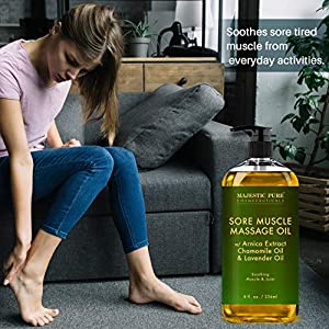 MAJESTIC PURE Arnica Sore Muscle Massage Oil for Body – Best Natural Therapy with Lavender and Chamomile Essential Oils – Warming, Relaxing, Massaging Joint Pain Relief Support – 8 fl. oz
