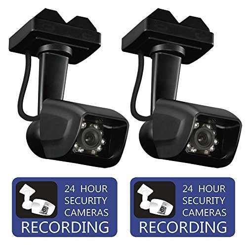 Dummy Security Camera Fake Surveillance CCTV With Warning Sticker for Indoor and Outdoor Use by Bocomus, 2 Pack