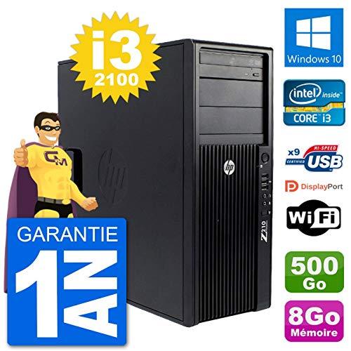 HP PC Tower Z210 Intel Core i3-2100 RAM 8Go Festplatte 500Go Windows 10 WiFi (Generalüberholt)
