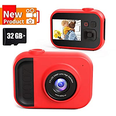 Kids Camera for Girls and Boys,Kids Digital Camera 2.0 Inches Screen 24MP 1080P Video Camcorder Mp3 Game Children Cartoon Selfie Cameras Toys for Gifts - 32GB Memory Card Included by Sinohrd