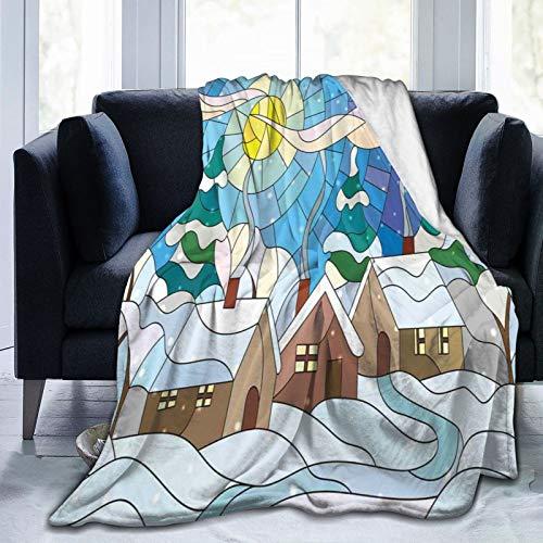 Bequeme dünne Flanelldecke, Glasmalerei inspirierte Kunst mit kaltem Schneewetter Dorf mit rauchenden Schornsteinen, Klimaanlagendecke 80 'X 60'
