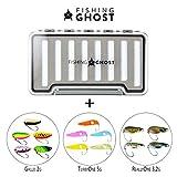 FISHINGGHOST 14x Trout Spoons & 1x Blinkerbox - Set, bestehend aus 14 Kunstköder und Einer...