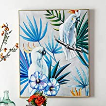 ZHUAIBA 100% Hand Painted Abstract Parrot Art Oil Painting on Canvas Wall Art Frameless Picture Decoration for Live Room Home Decor Gift (70X90cm) 28X36inch A