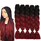 "Jumbo Braiding Hair Ombre Braids Hair Synthetic Braiding Hair Extensions for Box Twist Braiding Red 24"" 5Pcs/Set 100G/Pc (Black /Red)"