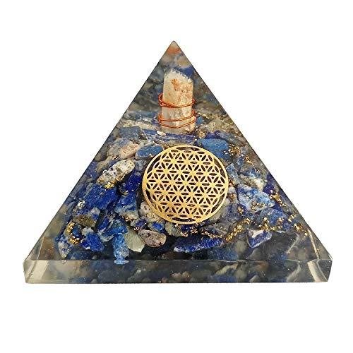 Sharvgun Lapis Lazuli with Flower of Life Energy Generator Reiki Healing Crystal Pyramid Emf Protection and Meditation Yoga 2.5-3 Inch