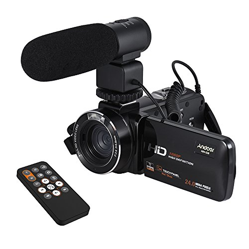 """Andoer 1080P Camcorder WiFi Digital Video Camera Camcorder Full HD 24MP with External Microphone 3.0"""" Rotatable LCD Touchscreen Support LED Lamp 16X Digital Zoom Remote Control"""