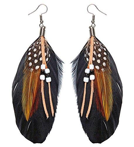 shoperama Pendientes de plumas de piel y perlas para mujer, estilo indio, hippie salvaje occidental, plumas boho