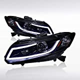 Autozensation For Civic 2/4dr Glossy Black Projector Headlights+White Led Light Bar