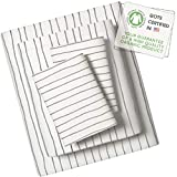 Makemake Organics Organic Sheet Set Queen (4 Piece) GOTS Certified Organic Cotton Sheets Queen Dreamy Soft Anti Allergy Non Toxic Fitted Sheet, Flat Sheet, Pillow Cases (Queen, Gray Stripes)
