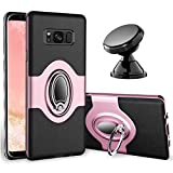 eSamcore Samsung Galaxy S8 Plus Case Ring Holder Kickstand Cases + Dashboard Magnetic Phone Car Mount [Rose Gold]