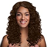 Long Afro Kinky Curly Lace Front Wigs,L Part Heat Resistance Synthetic Brazilian Hair Wig for African American Black Women 20' Brown