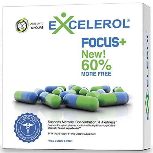 Excelerol Focus Plus Brain Supplement, Memory Support Capsules (60 Capsules)