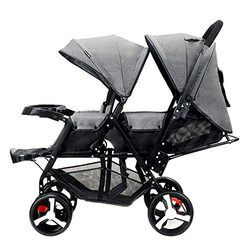 Twin baby stroller zxmpfg Cochecito de bebé Gemelo, sillas de Paseo Dobles Plegables y Ligeras, Asiento reclinable Multifuncional y toldo para Viajar fácilmente