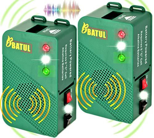 ByBATUL 2X Marderscheuche Marderabwehr Batteriebetrieb mit Ultraschall und Blitzlicht Marderschreck für Auto Dachboden Wohnmobile Garage Restorant