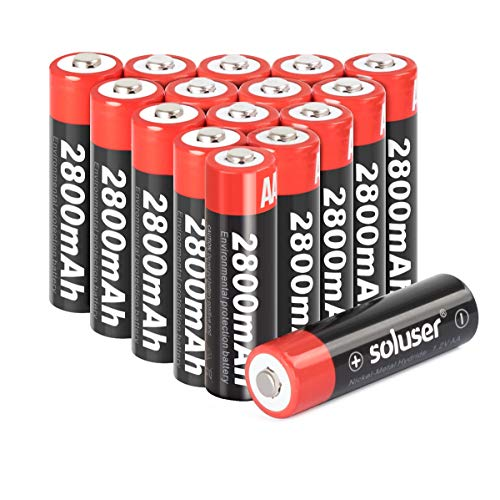 AA Rechargeable Batteries, AA Batteries Rechargeable 2800mAh High-Capacity AA Batteries 1.2V Ni-MH Low Self Discharge 16-Pack