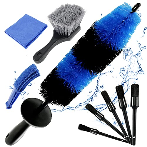 Protoiya 9PCS Car Wheel Tire Brush Set, 17Inch Long Rim Wheel Brush & 5Pcs Car Detail Brush Tire Brush with Towel for Vehicle Auto Engine Washing Cleaning Wheels, Interior, Exterior, Air Vents