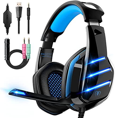 Gaming Headset for PS4 PS5 Xbox One PC Switch Laptop with 7.1 Surround Sound, Gaming Headphones with Noise Canceling Mic