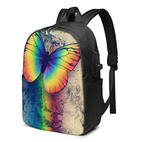 XCNGG Laptop Backpack,17 Inch Travel Lightweight Backpack with USB Charging Port Rainbow Butterfly