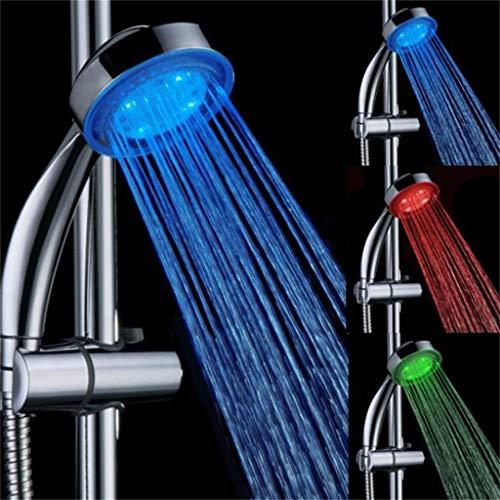 HSKB LED douchekop handdouche douchekop 3 kleuren 360 ° Draai met roestvrij staal waterbesparend drukverhogend douchekop universele douchekop voor meer waterdruk, waterbesparend Premium