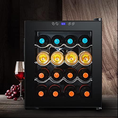 Nevera De Vino Doméstico Pequeño, Bodega De Vino Independiente De 16 Botellas, Panel De Control De Pantalla Táctil, 11-18 ℃, Capacidad De 16 Botellas, 3 Particiones