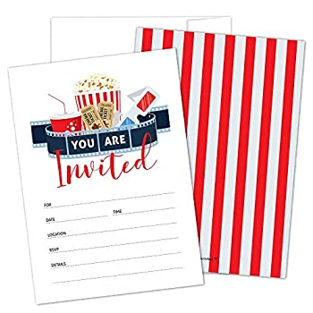 Movie Party Invitations with Envelopes by Hat Acrobat | Perfect for Movie Theme Party Hollywood Party Red Carpet Party Movie Night for Girls Boys Pack of 25
