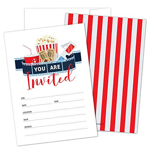 Movie Party Invitations with Envelopes by Hat Acrobat | Perfect for Movie Theme Party, Hollywood Party, Red Carpet Party, Movie Night, for Girls, Boys, Pack of 25